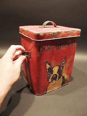 Antique Vintage Style, Tin Boston Terrier Dog Treat Biscuit box old Red Paint