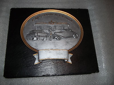 Slate And Meyal Car Show Plaque With Diner Scene, Nice Display Piece 55 Chevy