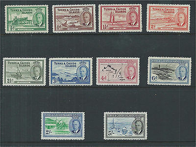 Turks & Caicos 1950 Selection of Mounted Mint to 5/- (10) SG221/32