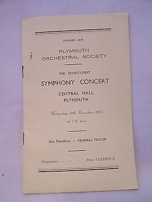 PROGRAMME, PLYMOUTH, SYMPHONY CONCERT, CENTRAL HALL, 1950's, VINTAGE, ATTIC FIND