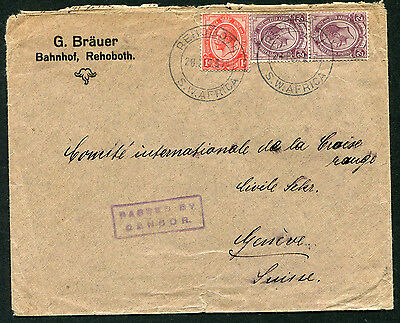South Africa 1916 env used Rehoboth, South West Africa to Switzerland: censored