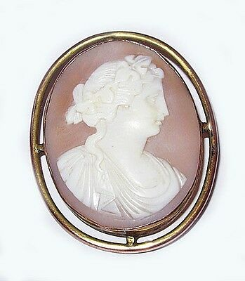 c. 1890s Carved Shell Cameo Brooch, Classic Woman, Wreath in Hair