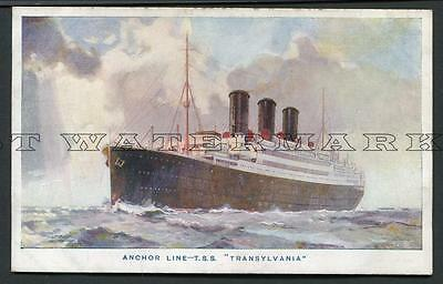 """1920's Col Pc - Anchor Line """"transylvania"""" -- Dundee Agents On Back"""