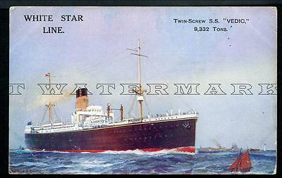 """1920's White Star Line """"vedic"""" -- Perth Agents On Back"""