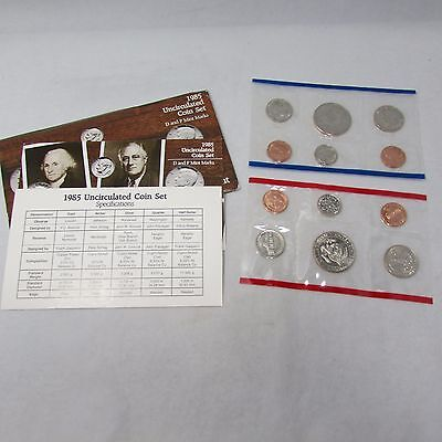 1985P & 1985D Uncirculated Coin Sets in Cellophane and COA