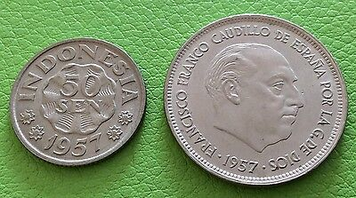 Group Of 2 Coins From The Year 1957.spain 25 Pesetas,indonesia 5 Sen.