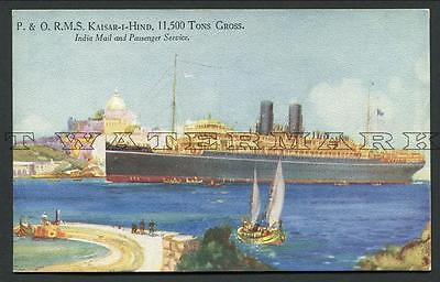 """1920's Coloured Pc -- P And O Liner """"kaiser-I-Hind"""""""