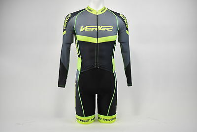Brand New Verge Men's Long Sleeve Lycra Cycling Skinsuit, Black/Grey/Green, S