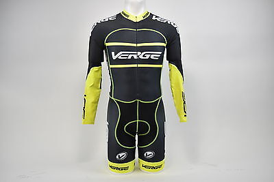Brand New Verge Men's Primo Power L/S Lycra Cycling Skinsuit Black/Grey/Yellow M