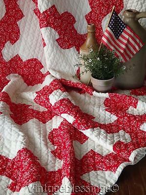 """Beautiful RED & White VINTAGE Drunkards Path QUILT Excellent Quilting 74x67"""""""