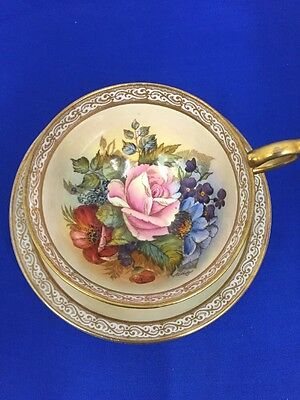 Rare!!! Huge Cabbage Rose Sign By J.a. Bailey Tea Cup And Saucer Aynsley