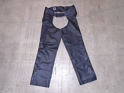 """""""Just Leather"""" Men's Top Line Leather Motorcycle Chaps Size L Large Pre-Owned"""