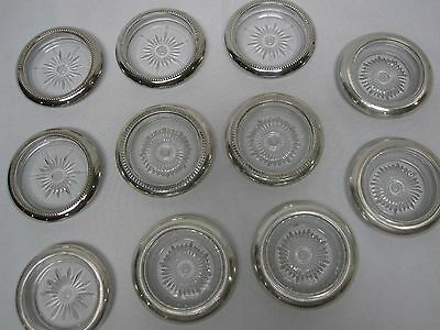 11 Vintage Sterling Silver & Silver Plate Rim Glass Coasters