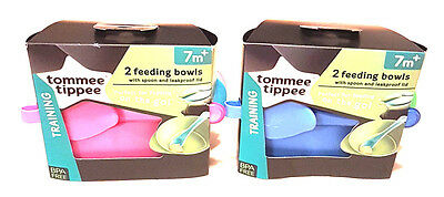 Tommee Tippee 2 x Feeding Bowl and Spoon Set 7 Mths + Bpa Free New