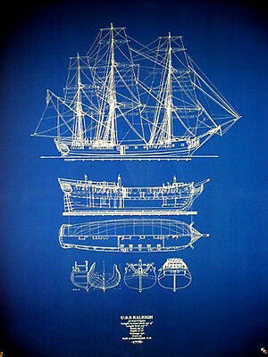 "USS Raleigh Navy Warship 1776 Frigate 32 Guns Blueprint Plan 24""x32""   (039)"