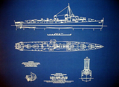 USN Destroyer WW2 USS Hank DD-702 1944 blueprint Plan display 18x24  (185)