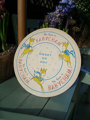 ORIGINAL 1960s-70s LARGE BABYCHAM ADVERTISING SIGN nt ENAMEL 10 INCH ACROSS