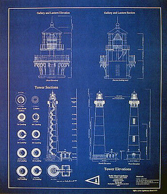 "North Carolina Bodie Island Lighthouse Blueprint Plans 20""x23"" (272)"