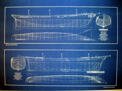Clipper Ships Half Hulls Blueprint Plans Set of 2 full size blueprints