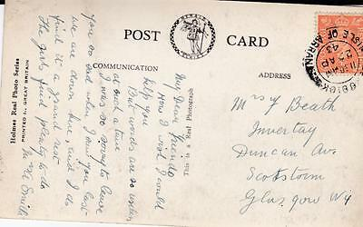 Gb 1943 Kgvi Scottish Postcard With Isle Of Arran Cancel Posted To Glasgow 17*