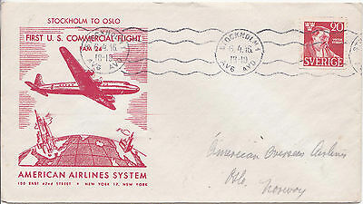 Good Sweden 1946 First Flight Cover Flown From Stockholm To Norway 14*