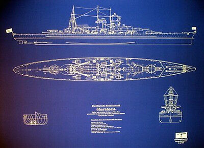 WW2 German Battleship Sharnhorst blueprint plan 23x32 (068)