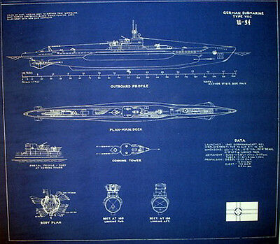 German submarine U-94 type VIIC U-boat Blueprint Plan 20x22  (213)