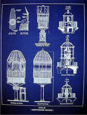 "Vintage LIGHTHOUSE LENSE USLHS Blueprint Plan 18"" x 24"" (226)"