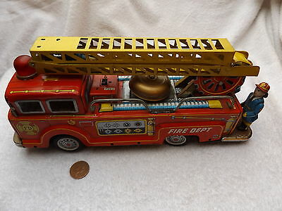 1950's, made by 'K' in Japan. Tinplate American style fire engine. Friction moto