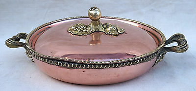 Italian Cookware Tin Lined Copper Braiser Lidded Round Pan Brass Handles Ø 7""