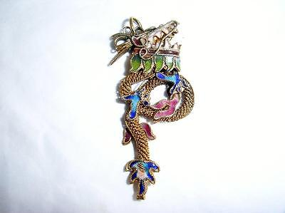 Vintage Chinese Dragon Necklace /pendant Enamel & Gold/silver Colour  Wirework