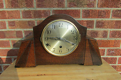 1930s Art Deco 8 Day Westminster Chime Mantle Clock