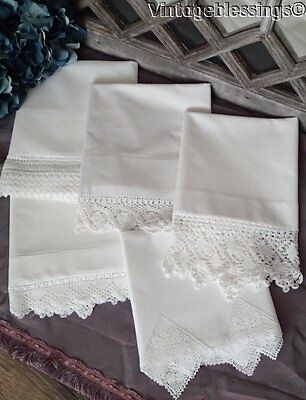 Victorian Cottage Lot of 5 White Lace Trimmed VINTAGE Pillow Cases (ng)