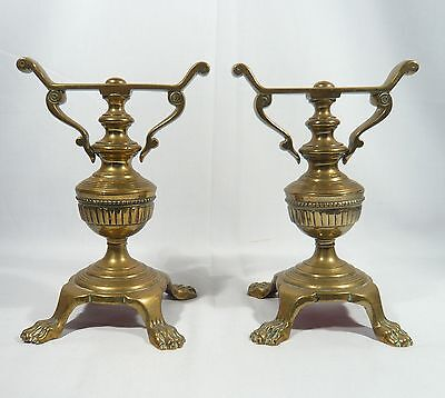Antique Pair LION PAW 4 FOOTED Solid BRASS Fireplace Tool RESTS FIRE DOGS