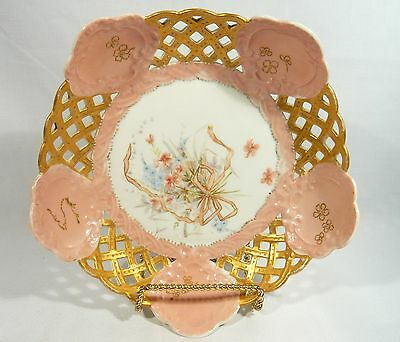 Antique Signed  Meissen &  Dated 1893 Hand Painted Reticulated Center Fruit Bowl