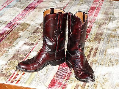 Black Cherry Ostrich Leather Lucchese Boots 8D