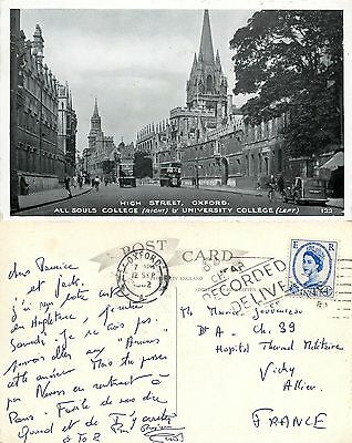 a1862 All Souls & University College, Oxford, postcard posted to France 1962