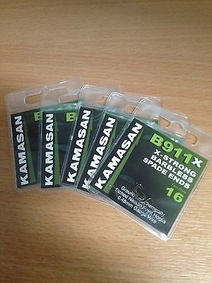 Five packets of Kamasan B911 X-Strong Barbless Spade End Hooks Size 16