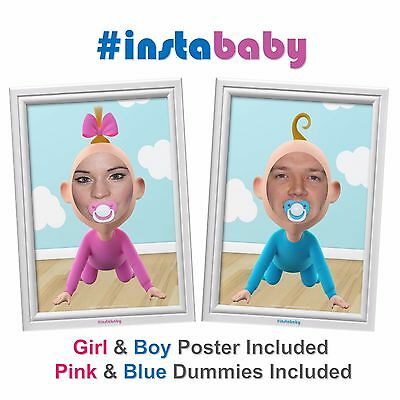 Baby Shower Game / Prop  - #instaBABY - Boy & Girl Poster and 2 Dummies Included