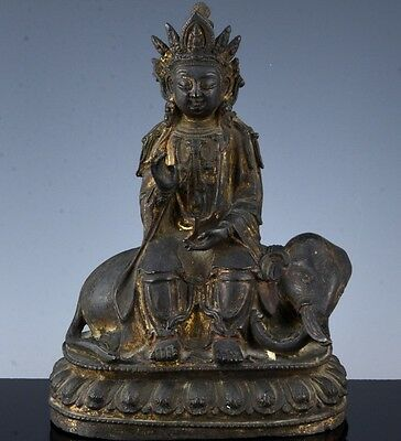 Fine & Rare Chinese Ming Dynasty Bronze Guanyin With Buddhist Elephant Figure