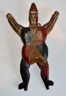 Rare Antique Jumping Jack Circus Clown Articulated Wooden Folk Art Toy