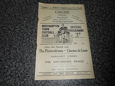 NORTHAMPTON TOWN  v  IPSWICH TOWN 1948/9  DIV 3 SOUTH ~ OCT 9th  ***SCARCE***