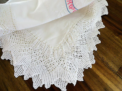 Antique Italian Trousseau Bed Sheet Embroidery Good Sleep Dripping Crochet