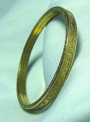 """Child's Gold Plate Engraved Cuff Bracelet 4.3 grams 1/8"""" wide"""