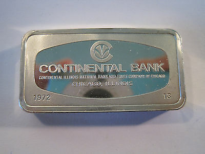 Franklin Mint Continental National Bank 1000 Grains Sterling Silver Bar *7169