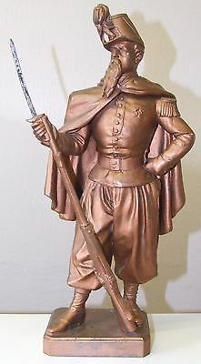 A Stunning Spelter Figure Of A French Soldir Singed R Kampf