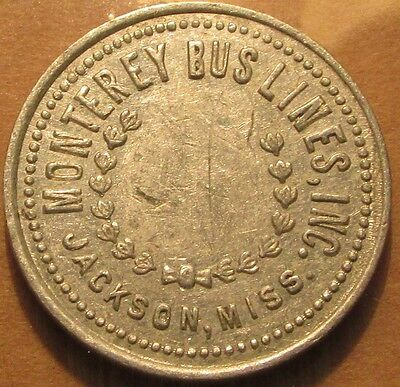 1956 Monterey Bus Lines Inc. Jackson, MS Transit Bus Token - Mississippi Miss.