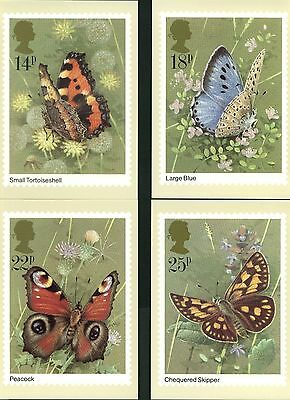 British  Butterflies Set Of 4   Post Office Cards In  Pristine Condition
