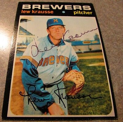 Lew Krausse Signed Autographed 1971 Topps #372 - Milwaukee Brewers Wisconsin WI
