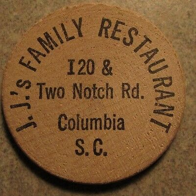 Vintage J.J.'s Family Restaurant Columbia, SC Wooden Nickel - Token